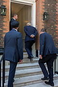 On the day that the Conservative Party elects its leader and the country's Prime Minister, Boris Johnson returns to the property of Great College Street that he and his campaign team have been using (courtesy of Sky TV executive Andrew Griffith) after the result at the QE2 Centre nearby, on 23rd July 2019, in Westminster, London, England.
