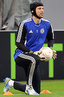 Chelsea's Czech goalkeeper Petr Cech takes part in a training session on March 6, 2013 at the National Arena Stadium one day before the UEFA Europa League football match against Steaua Bucharest.
