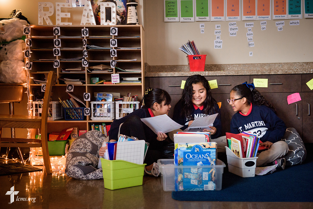 Students in teacher Amanda Stewart's fourth grade class practice their project at St. Martini Lutheran School on Tuesday, Nov. 14, 2017, in Milwaukee. LCMS Communications/Erik M. Lunsford