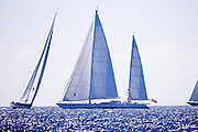 Ethereal and Lady B sailing during the St. Barth's Bucket 2011 race 1.