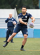 Centre CASEY LAULALA of French rugby union team, Racing 92 from Paris, during training in Hong Kong. They are preparing ahead of their upcoming match against New Zealand's Super League team, The Highlanders