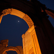 Moon over the monumental arch at Palmyra