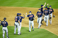 27 June 2011: Indians celebrate a win together on the field after a Major League Baseball game MLB Cleveland Indians defeated the Arizona Diamondbacks 5-4 inside Chase Field in Phoenix, AZ.  **Editorial Use Only**