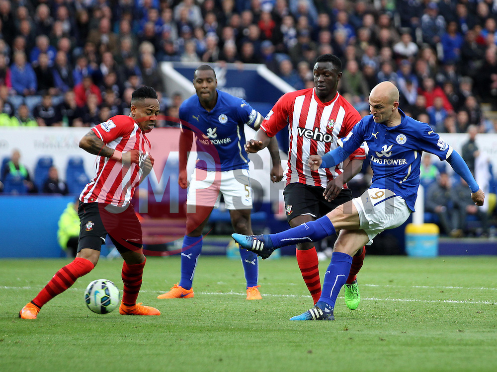 Leicester City's Esteban Cambiasso shoots - Photo mandatory by-line: Robbie Stephenson/JMP - Mobile: 07966 386802 - 09/05/2015 - SPORT - Football - Leicester - King Power Stadium - Leicester City v Southampton - Barclays Premier League