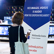 Promotion campaign launched for the new multimedia centre of the European Parliament : kakemono, rollup tools.
