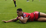 Derrell Olpherts of Salford Red Devils score his 3rd  try of the game against Halifax RLFC during the Super 8s The Qualifiers match at Mbi Shay Stadium, Halifax<br /> Picture by Stephen Gaunt/Focus Images Ltd +447904 833202<br /> 02/09/2018