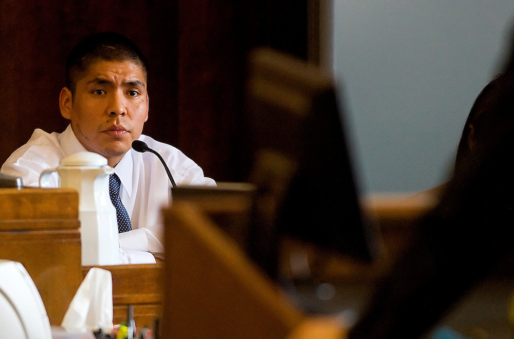 120408     Brian Leddy.Alvin Mariano is questioned by the prosecution during his trial at the McKinley County Courthouse on Thursday afternoon.  Mariano is accused of killing his wife, Olivia James-Mariano, in November of last year.