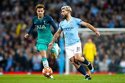 Sergio Aguero of Manchester City take on Dele Alli of Tottenham Hotspur - Mandatory by-line: Robbie Stephenson/JMP - 17/04/2019 - FOOTBALL - Etihad Stadium - Manchester, England - Manchester City v Tottenham Hotspur - UEFA Champions League Quarter Final 2nd Leg