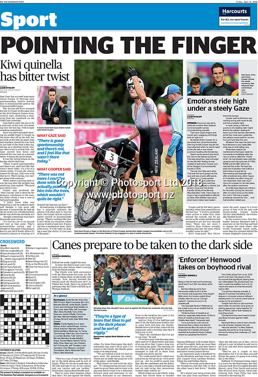 New Zealand Mountain Bike Commonwealth Games gold medalist Sam Gaze featured on the Sport section of the Dominion Post on 13 April 2018.<br /> GC2018.<br /> Copyright photo: Andrew Cornaga / www.photosport.nz