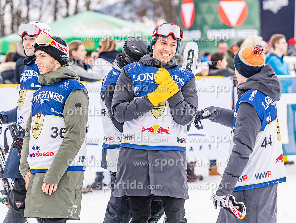 25.01.2020, Streif, Kitzbühel, AUT, FIS Weltcup Ski Alpin, im Rahmen der KitzCharityTrophy 2020 am Samstag, 25. Jänner 2020, auf der Streif in Kitzbühel. // f.l. Pierre Gasly Alex Albon Pol Esparago during the KitzCharityTrophy 2020 at the Streif in Kitzbühel, Austria on 2020/01/25, im Bild v.l. Pierre Gasly, Alex Albon, Pol Esparago // f.l. Pierre Gasly Alex Albon Pol Esparago during the KitzCharityTrophy 2020 at the Streif in Kitzbühel, Austria on 2020/01/25. EXPA Pictures © 2020, PhotoCredit: EXPA/ Stefan Adelsberger