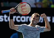 GRIGOR DIMITROV (BUL) jubelt nach seinem Sieg,Jubel,Freude,Emotion,<br /> <br /> Australian Open 2017 -  Melbourne  Park - Melbourne - Victoria - Australia  - 25/01/2017.