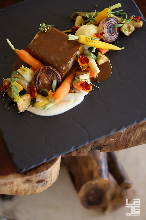 "Food Photography: Braised Short Ribs ""MANCHA MANTELES"" Style at Don Manuel's Restaurant, at Capella Pedregal in Cabo San Lucas, Baja California Sur, Mexico."