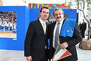 BARI 11.04.2010<br /> PIAZZA FERRARESE-SALA MURAT<br /> CONFERENZA STAMPA DI PRESENTAZIONE DEGLI INCONTRI<br /> DI QUALIFICAZIONE AI CAMPIONATI EUROPEI 2011<br /> NELLA FOTO IL COACH DELLA NAZIONALE ITALIANA SIMONE PIANIGIANI ED ILSINDACO DI BARI MICHELE EMILIANO
