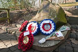 Memorial to USAAF Crewmen of Mi Amigo<br /> <br /> First Lieutenant John Glennon Krieghauser, pilot.<br /> <br /> Second Lieutenant Lyle J Curtis, co-pilot<br /> <br /> Second Lieutenant John W Humphrey, navigator<br /> <br /> Second Lieutenant Melchor Hernandez, bombardier<br /> <br /> Staff Sergeant Robert E Mayfield, radio operator<br /> <br /> Staff Sergeant Harry W Estabrooks, engineer/top turret gunner<br /> <br /> Sergeant Charles H Tuttle, ball-turret gunner<br /> <br /> Sergeant Maurice O Robbins, tail gunner<br /> <br /> Sergeant Vito R Ambrosio, right waist gunner<br /> <br /> Muster Sergeant George U Williams, left waist gunner<br /> Endcliffe Park Sheffield<br /> <br /> www.pauldaviddrabble.co.uk<br /> 19th February 2012 <br /> Image &copy; Paul David Drabble