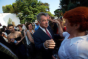 Austrian Pavillion. Paintings by Herbert Brandl, opening party. Austrian President Heinz Fischer greeting Ursula Pasterk.