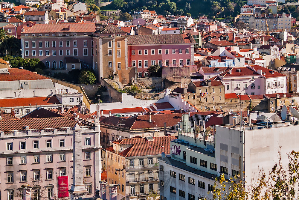 Lisbon, November 2012. General view of Lisbon downtown, Restauradores district viewed from Bairro Alto district