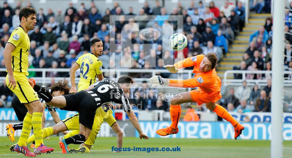 Tottenham Hotspur score to make 2-1 during the Barclays Premier League match at St. James's Park, Newcastle<br /> Picture by Simon Moore/Focus Images Ltd 07807 671782<br /> 19/04/2015