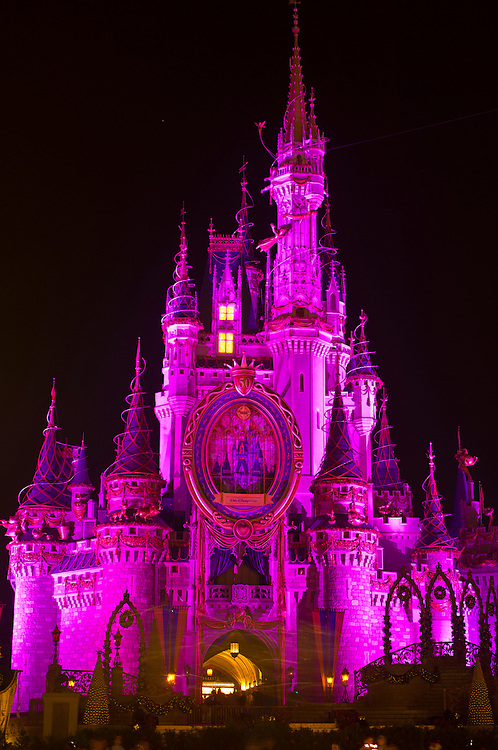 Cinderella Castle at night, Walt Disney World, Orlando, Florida USA
