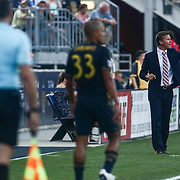 New York Red Bulls Manager JESSE MARSCH, right, instruct players from the sideline in the first half of a Major League Soccer match between the Philadelphia Union and New York Red Bulls Sunday, July. 17, 2016 at Talen Energy Stadium in Chester, PA.