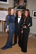 DEE STIRLING; DAVID GIAMPAOLO; DAMBISA MOYO, Triennial Summer Ball, Royal Academy. Piccadilly. London. 20 June 2011. <br /> <br />  , -DO NOT ARCHIVE-© Copyright Photograph by Dafydd Jones. 248 Clapham Rd. London SW9 0PZ. Tel 0207 820 0771. www.dafjones.com.