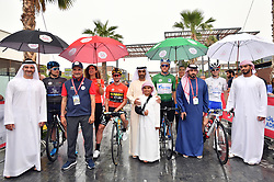 March 1, 2019 - Emirati Arabi Uniti - Foto LaPresse - Massimo Paolone.1 Marzo 2019 Emirati Arabi Uniti.Sport Ciclismo.UAE Tour 2019 - Tappa 6 - da Ajman a Jebel Jais - 180 km.Nella foto: Sheikh Ahmed Bin Humaid Al-Nuaimi, Saeed Hareb con Primoz Roglic (Team Jumbo - Visma) e Stepan Kuriyanov (Gazprom - RusVelo)..Photo LaPresse - Massimo Paolone.March 1, 2019 United Arab Emirates.Sport Cycling.UAE Tour 2019 - Stage 6 - Ajman to Jebel Jais - 111,8 miles.In the pic: Sheikh Ahmed Bin Humaid Al-Nuaimi, Saeed Hareb with Primoz Roglic (Team Jumbo - Visma) and Stepan Kuriyanov  (Credit Image: © Massimo Paolone/Lapresse via ZUMA Press)