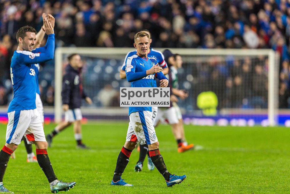 Dean Shiels celebrates after the match between Rangers and Hibernian (c) ROSS EAGLESHAM   Sportpix.co.uk