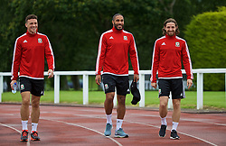 DINARD, FRANCE - Tuesday, July 5, 2016: Wales' James Chester, captain Ashley Williams and Joe Allen during a training session at their base in Dinard as they prepare for the Semi-Final match against Portugal during the UEFA Euro 2016 Championship. (Pic by David Rawcliffe/Propaganda)