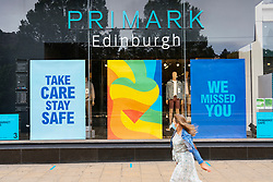 Edinburgh, Scotland, UK. 28 June, 2020. With many shops about to reopen on Monday 29 June, staff are preparing their stores for customers. Windows are being cleaned and signs posted to warn of the many safety rules to be adhered to . Posters on windows of Primark .  Iain Masterton/Alamy Live News