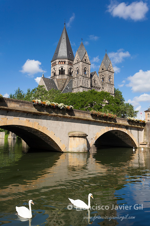 Temple Neuf and  Moselle canal river,  Metz, Moselle, Lorraine region, France