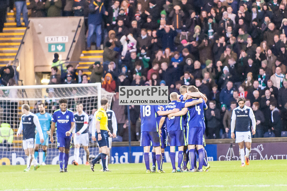 Hibs players celebrate Darren McGregor's opening goal. Action from the Raith Rovers v Hibernian game in the 3rd Round of the Scottish Cup at  in Kirkcaldy, 9 January 2016. (c) Paul J Roberts / Sportpix.org.uk
