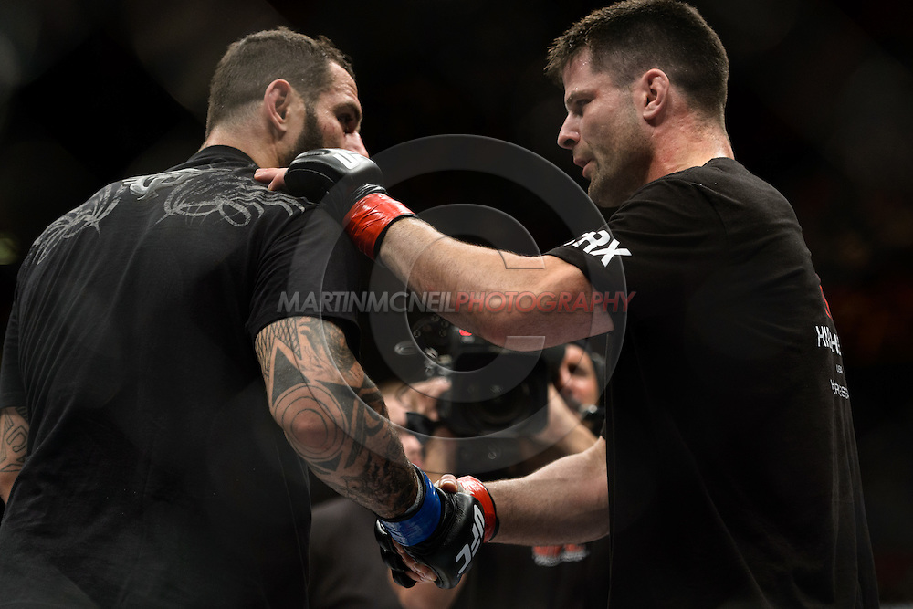"""STOCKHOLM, SWEDEN, APRIL 14:  Alessio Sakara (left) and Brian Stann display their sportsmanlike conduct and respect followign their fight at """"UFC on Fuel TV: Gustafsson vs. Silva"""" inside the Ericsson Globe Arena in Stockholm, Sweden"""