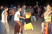 A crowd of people dancing, Ibiza, 1999.