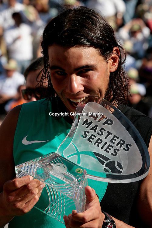 Rome, Italy 13/05/2007 - Tennis - Italian Atp Masters Series - Internazionali d'Italia 2007. Spanish player Rafael Nadal holds his trophy after winning the Italian Tennis Open final match against Davydenko (RUS). Nadal (ESP) d. (4) Davydenko (RUS) 76 (3) 67 (8) 64