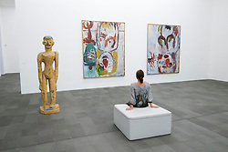 Modern art by Georg Baseltz at the Kuppersmuhle Museum at Innenhafen area of Duisburg in North Rhine-Westphalia Germany