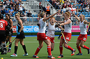 England's Lily Owsley scores a goal during a Black Sticks Women v England Semi Final match at the Glasgow National Hockey Stadium. Glasgow Commonwealth Games 2014. Friday 1 August 2014. Scotland. Photo: Andrew Cornaga/www.Photosport.co.nz