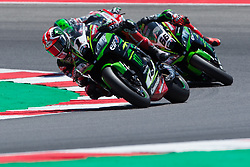 July 7, 2018 - Misano, RN, Italy - Jonathan Rea of Kawasaki Racing Team during the first lap of race 1 of the Motul FIM Superbike Championship, Riviera di Rimini Round, at Misano World Circuit ''Marco Simoncelli'', on July 07, 2018 in Misano, Italy  (Credit Image: © Danilo Di Giovanni/NurPhoto via ZUMA Press)