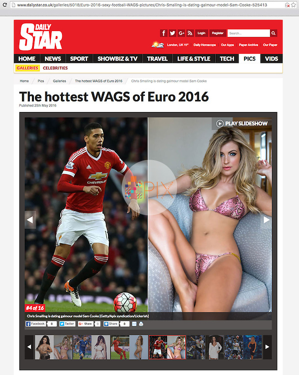 Sam Cooke is featured as one of the hottest WAGs of Euro 2016 in DAILY STAR (ONLINE) UK :: 20 May 2016<br />