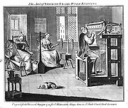 Stocking Frame Workshop, showing women winding and reeling the yarn, and the man working the knitting frame. From 'The Universal Magazine' London 1750.