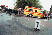 Nederland, Nijmegen, 15-9-2002Verkeersongeluk in bebouwde kom tussen ambulance op weg naar het ziekenhuis en een vrachtwagen.Foto: Flip Franssen/Hollandse Hoogte
