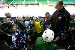 Dany Gelinas and kids at first practice of Slovenian National Ice hockey team before World championship of Division I - group B in Ljubljana, on April 5, 2010, in Hala Tivoli, Ljubljana, Slovenia.  (Photo by Vid Ponikvar / Sportida)