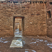 A color image of one of the many interior galleries from Pueblo Bonita - an ancient Anasazi dwelling located in the Chaco Culture National Historical Park, New Mexico.