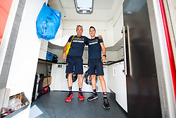 Ales Murn and Rok Novak, Physiotherapists of Team Bahrain Merida one day prior to the 25th Tour de Slovenie 2018 cycling race, on June 12, 2018 in Hotel Livada, Moravske Toplice, Slovenia. Photo by Vid Ponikvar / Sportida