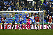 Reading defender Paul McShane (5) and Reading defender Liam Moore (16) congratulate Reading goalkeeper Ali Al-Habsi (26) after the final whistle during the EFL Sky Bet Championship match between Reading and Fulham at the Madejski Stadium, Reading, England on 24 January 2017. Photo by Jon Bromley.