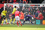 Nottingham Forest forward Joe Lolley (23) sends this shot over the bar during the EFL Sky Bet Championship match between Nottingham Forest and Blackburn Rovers at the City Ground, Nottingham, England on 13 April 2019.