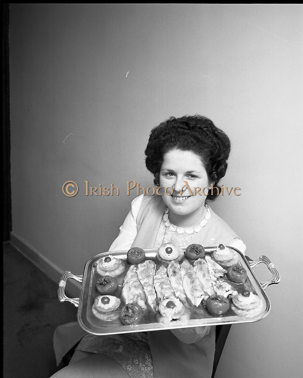 "B.I.M.National Seafood Cook..1972..05.05.1972..05.05.1972..5th May 1972..The final of the ""National Seafood Cook 1972"" was held in the Great Southern Hotel,Killarney,Co Kerry.The winner was Miss Mary Coleman (14 years)from the Vocational School, Claremorris,Co Mayo.The title of the winning dish was ""Amber Ring. She was chosen from 18 regional finalists...Celine O'Reilly,second place,pictured with her entry,""India Gold""."