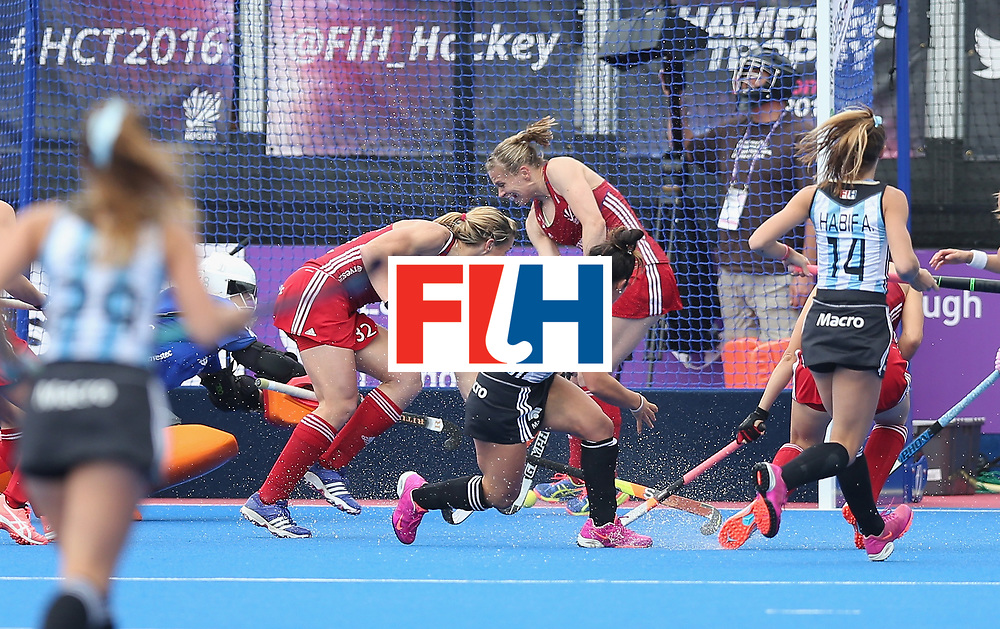 LONDON, ENGLAND - JUNE 18: Maria Granatto of Argentina scores their first goal during the FIH Women's Hockey Champions Trophy match between Argentina and Great Britain at Queen Elizabeth Olympic Park on June 18, 2016 in London, England.  (Photo by Alex Morton/Getty Images)