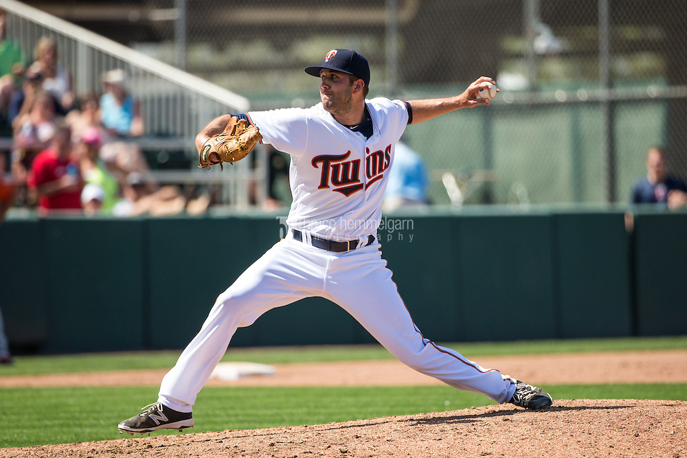 FORT MYERS, FL- MARCH 13: Pat Dean #71 of the Minnesota Twins pitches against the Baltimore Orioles during a spring training game on March 13, 2016 at Hammond Stadium in Fort Myers, Florida. (Photo by Brace Hemmelgarn) *** Local Caption *** Pat Dean
