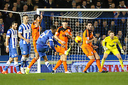 Brighton striker, Rajiv van La Parra (27) shoots at goal during the Sky Bet Championship match between Brighton and Hove Albion and Ipswich Town at the American Express Community Stadium, Brighton and Hove, England on 29 December 2015. Photo by Phil Duncan.