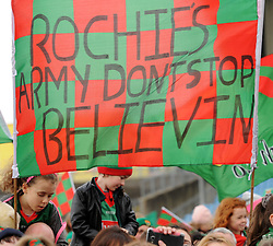 Mayo fans had a message for Stephen Rochford at the team&rsquo;s homecoming in McHale park yesterday.<br /> Pic Conor McKeown
