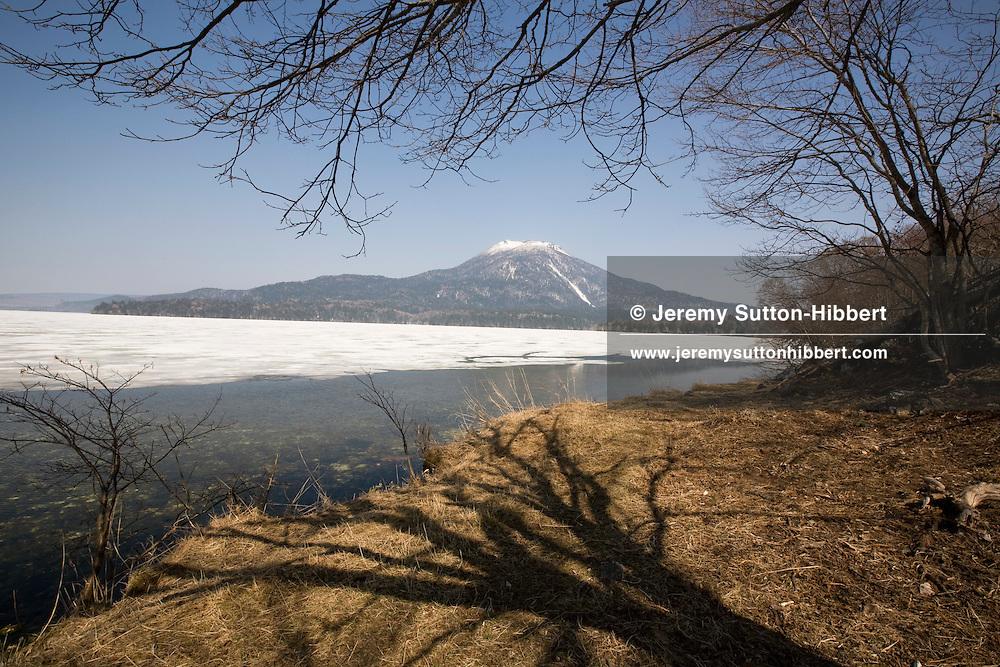 Lake Akan, with Mount O-Akan, Hokkaido, Japan on Monday 13th April 2009.
